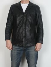 """Chaqueta de cuero negro pequeño 38"""" s década de 1970 ajustada años 70 Vintage (3BU)"""