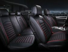 Deluxe Black Red PU Leather Full set Seat Covers For Nissan Navara Qashqai Juke