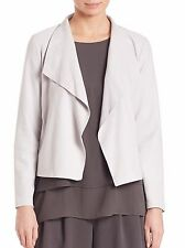 NWT Eileen Fisher PEARL Light Weight Soft Suede Drape-Front Jacket M $898