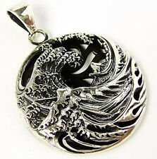 JAPANESE THE GREAT WAVE OFF KANAGAWA STERLING 925 SILVER PENDANT