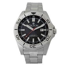 Croton Men's CA301298SSBK Quartz Black Dial Silver Tone Bracelet 42mm Watch