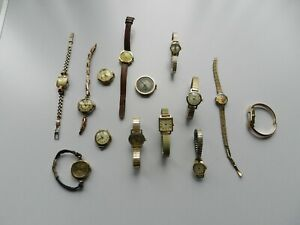 14 Antique Vintage Rolled Gold Plated Wrist Watches Art Deco