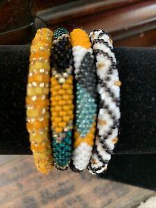 NEW 4 SET Nepal Glass Beaded bracelet crochet handmade bead bangle USA
