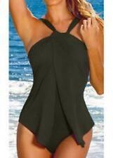 Señoras 12 14 Traje de Baño Cuello Halter Verde Militar Disfraz De una pieza ella enlace BNWT