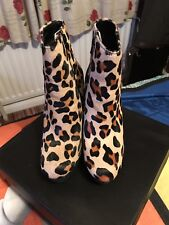 DUNE LONDON leopard Print Pony Hair High Ankle Boots Size 5.  Cost £125
