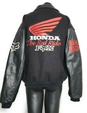 Fox Honda Red Riders Honda Leather Wool Hand Made Rare Bomber Jacket