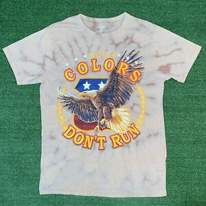 These Colors Dont Run Bald Eagle Patriotic USA Freedom Brown Tie Dye Tshirt - M