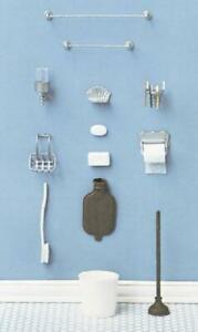 Melody Jane Dolls House Chrysnbon 18 pce Bathroom Accessories Set 1:12 Model Kit