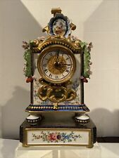 Beautiful Porcelain Flower Porcelain Mantle Clock 12""