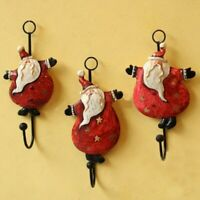 Set of 3 High Quality Metal Jolly Santa Hooks for the Holidays