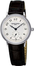 NEW Frederique Constant Women's FC-235AS1S6 Slim Line Black Leather Strap Watch