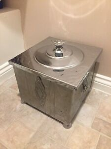Vintage Chrome coal box skuttle with liner and lid