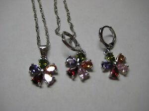 Jewelry Set in 925 Sterling Silver with 10.40ctw Multi-Color Zircon