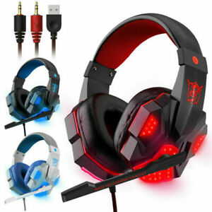 Gaming Headset Mic LED 3.5mm Headphones Stereo Bass Surround PC Xbox One PS4