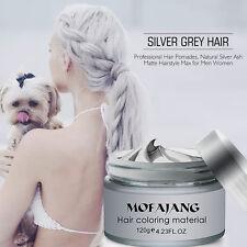 Men Silver Grey Hair Wax Hairstyle Model Promade Gel Mud Long-lasting US Sender