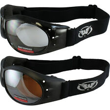 (2 GOGGLES) Motorcycle Riding Clear Lens & Driving Mirror Lens & Microfiber Bag