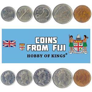 SET OF 5 COINS FROM FIJI: 5, 10, 20, 50 CENTS, 1 DOLLAR. 2009-2010. FIJIAN MONEY