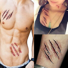 2x Removable 3D Scars Zombie Tattoos Costume MakeUp Realistic Blood Injury Wound