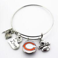 Chicago Bears Expandable Bangle Bracelet w/ Team Logo Charm Set Womens Jewelry