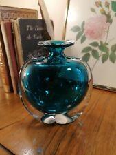 More details for vintage mid-century mdina malta art glass bottle 'side stripe' sea & sand vase