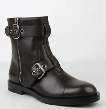 New Gucci Men's Brown Leather Sella Ankle Biker Boot 12.5G/US 13 368430 2140