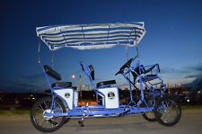 Surrey Bike Double Bench, Blue, Beach Surrey Bikes, 4 wheel bicycle