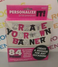 Personalize It Foil/Shiny Party Banner Kit 84 Letters/Number PINK/SILVER/BLACK