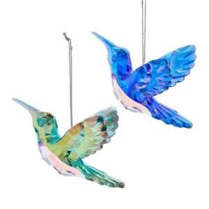Set of 2 PEACOCK HUMMINGBIRD Acrylic Christmas Ornaments by Kurt Adler