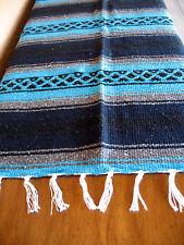 True Grit Falsa ONWT-Aqua/Navy Southwest Southwestern Serape Blanket Afghan