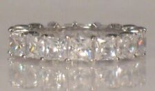 3 Ct Princess cut Diamond Eternity Band Stackable Wedding Ring White Gold ov