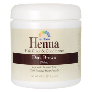 Rainbow Research Henna Hair Color and Conditioner - Dark Brown (Sable) 4 oz Pwdr