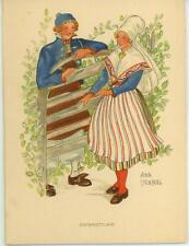 VINTAGE SWEDISH SWEDEN COSTUME MAN GIRL EAST GOTHLAND NATURE CARD LITHO PRINT