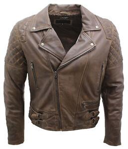 Men's Retro Brando Quilted Olive Brown Leather Biker Jacket
