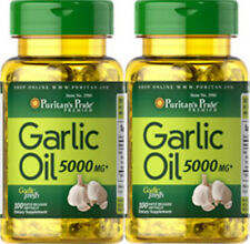 2 Bottles puritan's pride Garlic Oil 5000 mg 100 Softgels/bottle 6 months supply