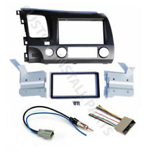 GREY Double Din Car Radio Dash Kit w/ Wiring Harness Fits 2006-2011 Honda Civic