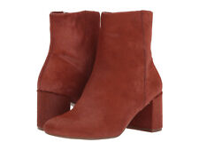 TARYN ROSE Cassidy Block Heel BOOTIE 5 Genuine Calf Hair Leather Terracotta NEW