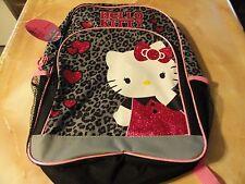 NWT Pink~Black~HELLO KITTY Jungle Leopard print SCHOOL Backpack book bag School