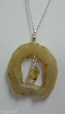 Geode Slice Necklace with Citrine Drop DRUZY Crystals DP134 Quartz FREE SHIP
