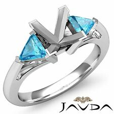 Fine Trillion Princess Mount 14k White Gold 0.5Ct Aquamarine 3Stone Diamond Ring