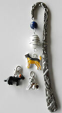 Dog Lover Bookmark, made USA, bookmarks 4 reader, blue & white beads,  3 dogs