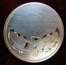 ANTIQUE STERLING DUBERRY SILVER BROOCH OR PIN ETCHED FLOWER  Duberry- F.A.