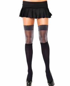 Black Silver Glitter Stripe Stockings Lurex Leg Avenue 6213