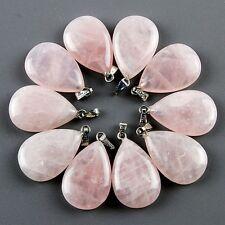 10pcs Pretty Rose Quartz Teardrop Pendant Bead BBSD9