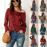 Plus Size Women Long Sleeve Off Shoulder Peplum Tops T-Shirts Tunic Blouse S-5XL