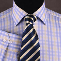 Blue Yellow Plaids & Checks Formal Business Dress Shirt Shepherd Checkered Twill