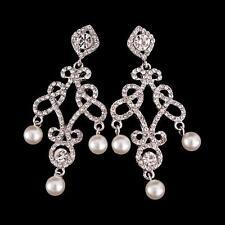 Crystal Chandelier Pearl Drop Earrings Vintage Bridal  Earrings Wedding Earrings