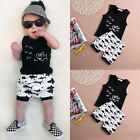 Newborn Baby Boys Summer Shark Tops T-shirt +Shorts Outfits Clothes 0-24 Months