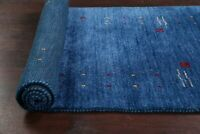 BLUE Gabbeh Bordered Oriental Runner Rug Hand-knotted Wool Modern Carpet 3x10