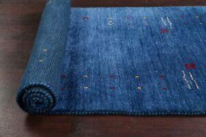 BLUE Gabbeh Bordered Oriental Runner Rug Hand-knotted Wool Modern Carpet 3x10