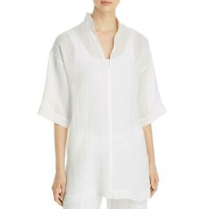 Eileen Fisher Womens White Organic-Linen Tunic Top Shirt Petites PS BHFO 4379